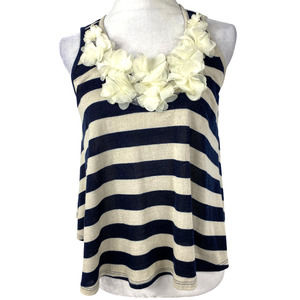 Maude Sweater Tank Top Floral  Stripe Navy/Crème-S